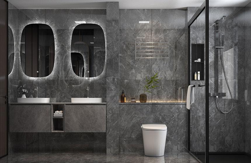 5.61㎡/#G1734103  现代简约大理石质感卫浴空间